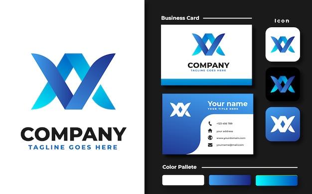 Modelo de logotipo va av inicial e cartão de visita