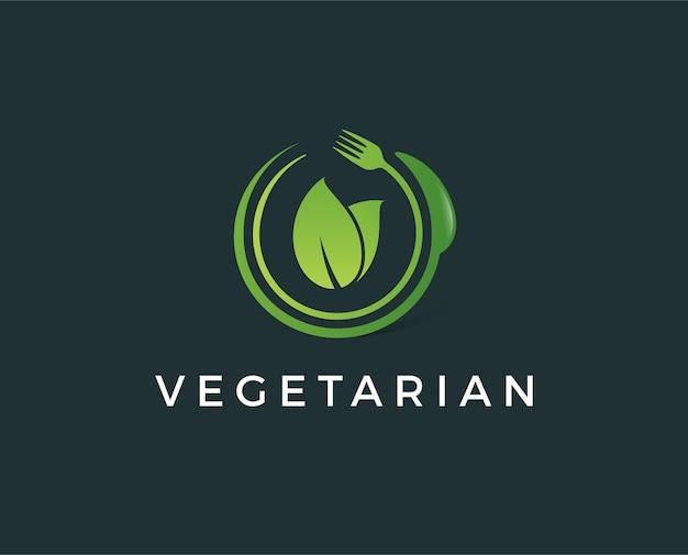 Modelo de logotipo vegetariano mínimo