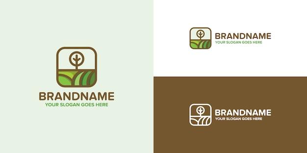 Modelo de logotipo verde de agricultura de planta