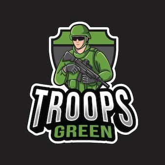Modelo de logotipo verde de tropas