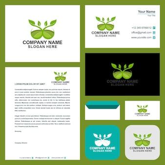 Modelo de logotipo verde e cartão de visita com conceito moderno premium vector