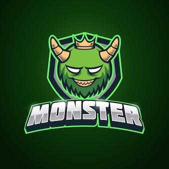 Modelo de logotipo verde monstro esport