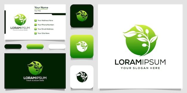 Modelo de logotipo verde-oliva moderno ilustração vetorial cartão de visita
