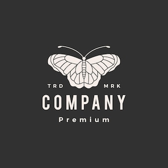 Modelo de logotipo vintage borboleta hipster