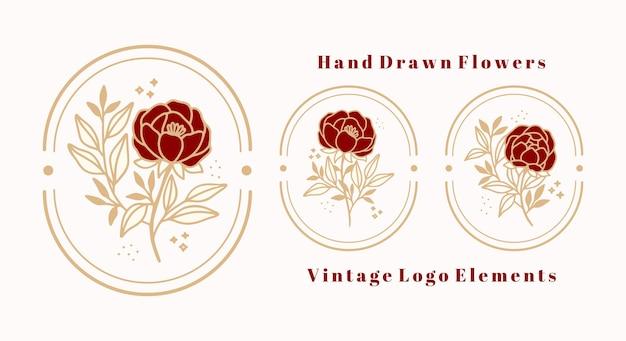 Modelo de logotipo vintage botânico de flor rosa desenhada à mão e coleção de elementos de marca de beleza feminina