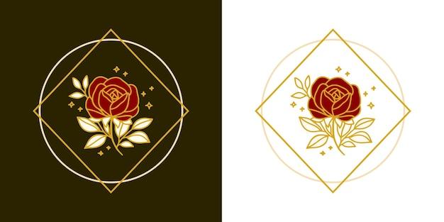 Modelo de logotipo vintage botânico de flor rosa desenhada à mão e conjunto de elementos de marca de beleza feminina