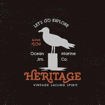 Modelo de logotipo vintage camping com gaivota