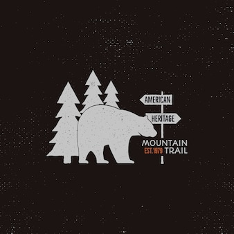 Modelo de logotipo vintage camping com urso, árvores