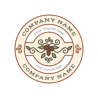 Modelo de logotipo vintage com nozes e folhas no emblema do círculo com fundo branco