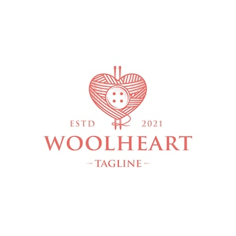 Modelo de logotipo vintage de amor de lã