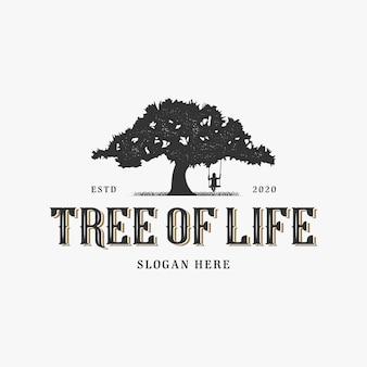 Modelo de logotipo vintage de árvore