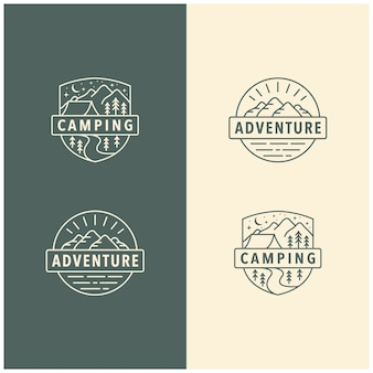 Modelo de logotipo vintage de aventura ao ar livre acampamento montanha, emblema