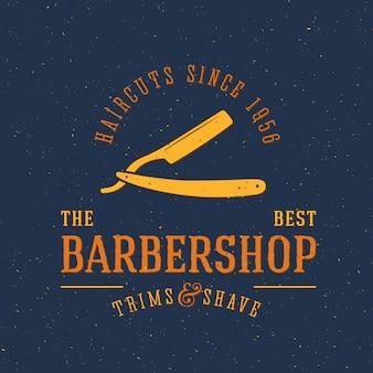 Modelo de logotipo vintage de barbearia com tipografia retrô e texturas gasto do grunge