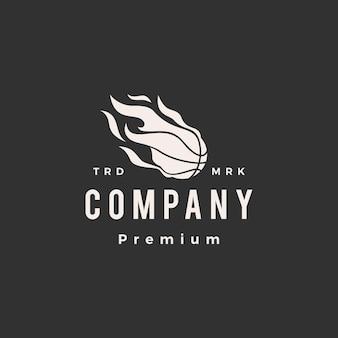 Modelo de logotipo vintage de basquete bola fogo chama hipster