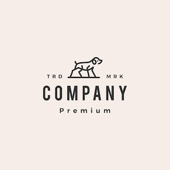 Modelo de logotipo vintage de contorno monolim de cachorro hipster