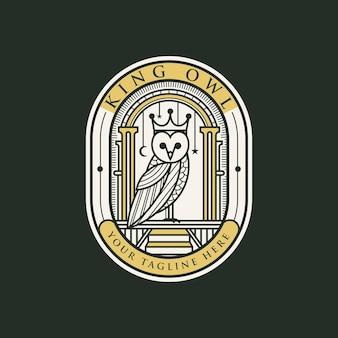 Modelo de logotipo vintage de coruja