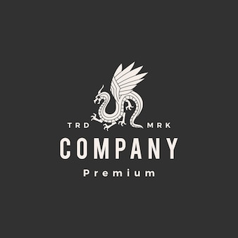 Modelo de logotipo vintage de dragão hipster