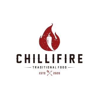 Modelo de logotipo vintage de fogo de pimenta