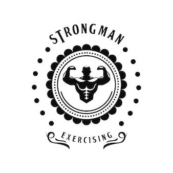 Modelo de logotipo vintage de ginásio antigo