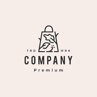Modelo de logotipo vintage de loja de legumes com sacola de compras de salada hipster