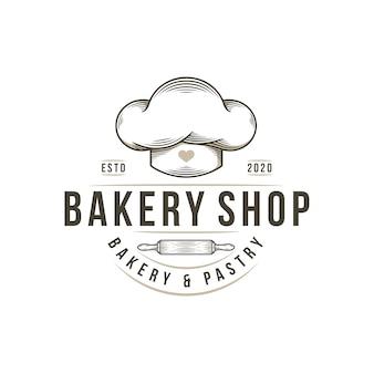 Modelo de logotipo vintage de loja de padaria