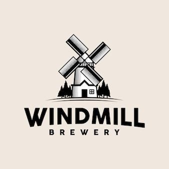 Modelo de logotipo vintage de moinho de vento