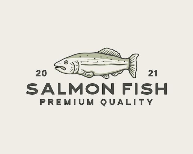 Modelo de logotipo vintage de peixe salmão