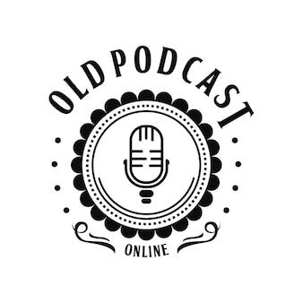 Modelo de logotipo vintage de podcast antigo