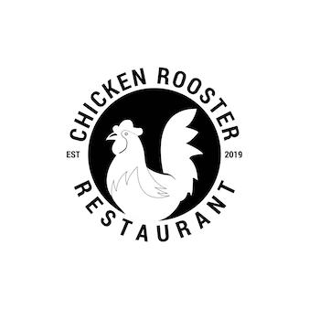 Modelo de logotipo vintage de restaurante de frango