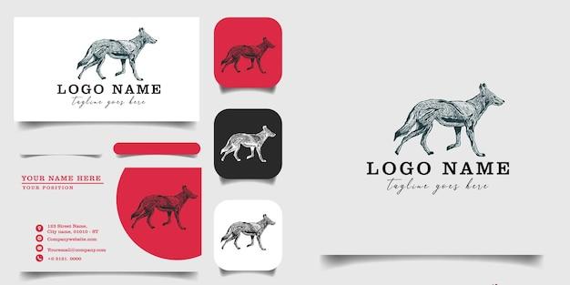 Modelo de logotipo vintage desenhado à mão e cartão de visita