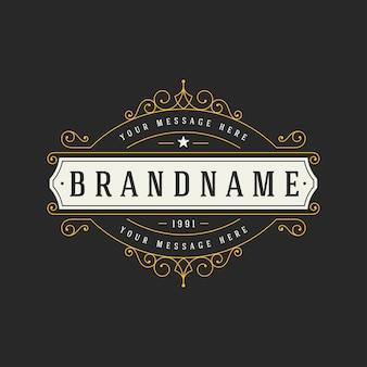 Modelo de logotipo vintage elegante ilustração de ornamentos