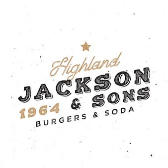 Modelo de logotipo vintage. insígnia retrô para projetos de identidade visual. distintivo de restaurante de propriedade familiar.