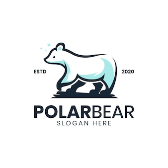 Modelo de logotipo vintage moderno de urso polar