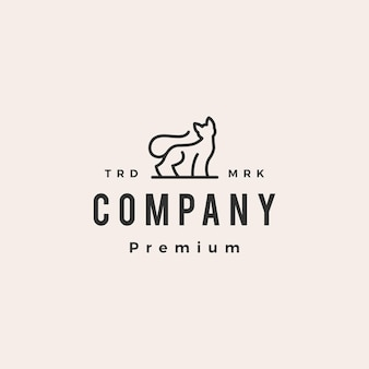 Modelo de logotipo vintage monoline hipster de contorno de gato