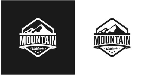 Modelo de logotipo vintage montanha ao ar livre inspiração vetor premium
