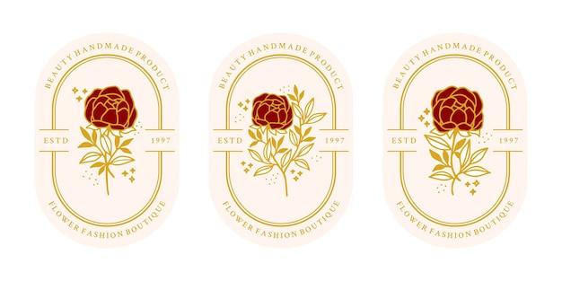 Modelo de logotipo vintage ouro botânico flor rosa desenhada à mão e coleção de elementos de marca de beleza feminina