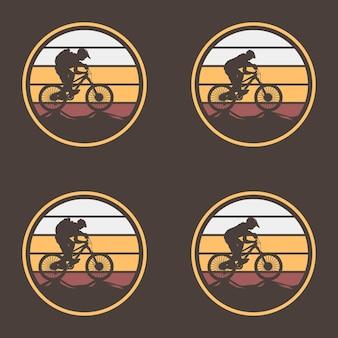 Modelo de logotipo vintage para bicicleta, equipamento e ciclista