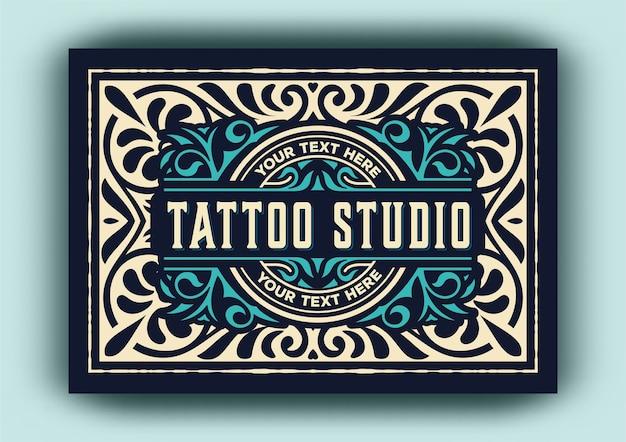 Modelo de logotipo vintage para estúdio de tatuagem