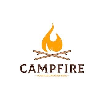Modelo de logotipo vintage para fogueira