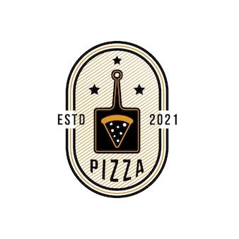 Modelo de logotipo vintage pizza para pizzaria ou um café. símbolos para comida e bebida e ilustração vetorial de restaurantes
