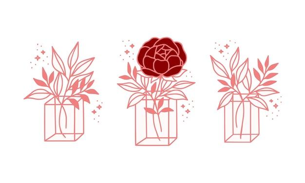 Modelo de logotipo vintage rosa botânica flor rosa desenhada à mão, caixa, pacote e coleção de elementos de marca de beleza feminina