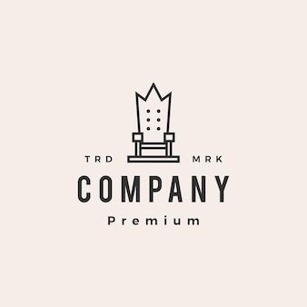 Modelo de logotipo vintage throne king chair hipster Vetor Premium
