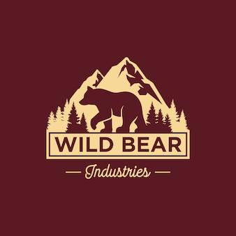 Modelo de logotipo vintage urso