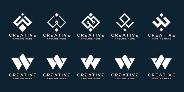 Modelo de logotipo w de iniciais da coleção.