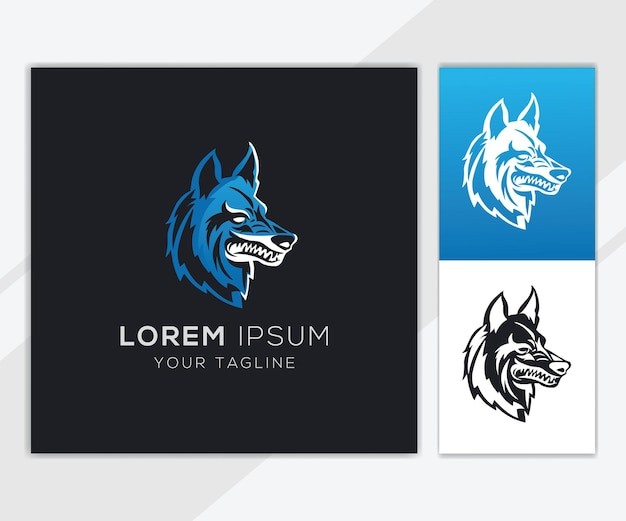 Modelo de logotipo wolf head