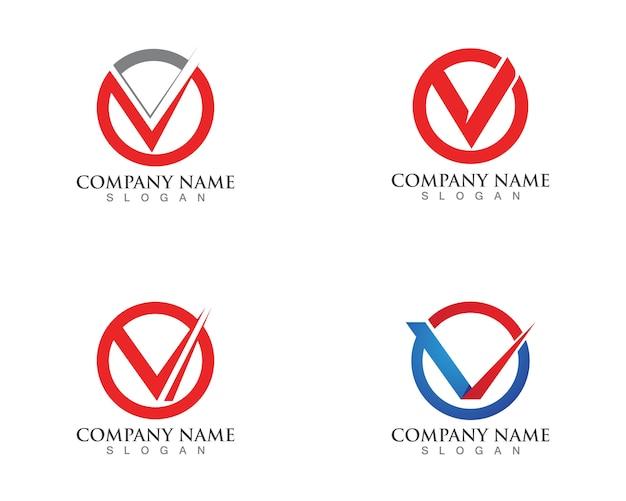 Modelo de logotipos e símbolos de negócios de letras v