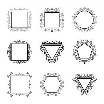 Modelo de logotipos floresce Elementos caligráficos