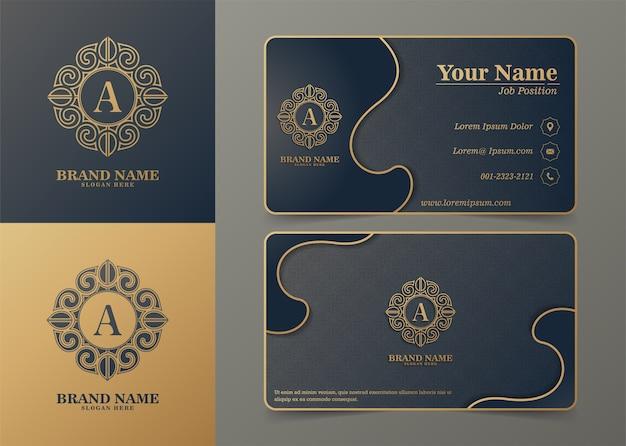 Modelo de logotipos ornamentais de luxo e cartões de visita