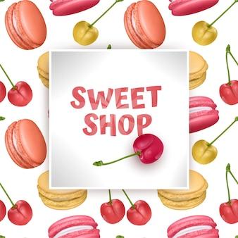 Modelo de loja de doces doces, com macarons e cerejas vermelhas.