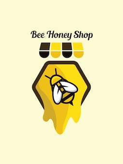 Modelo de loja de mel de abelha de logotipo